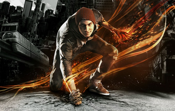 Picture asphalt, the city, cracked, fire, hat, smoke, sneakers, home, tattoo, the car, chain, guy, grin, …