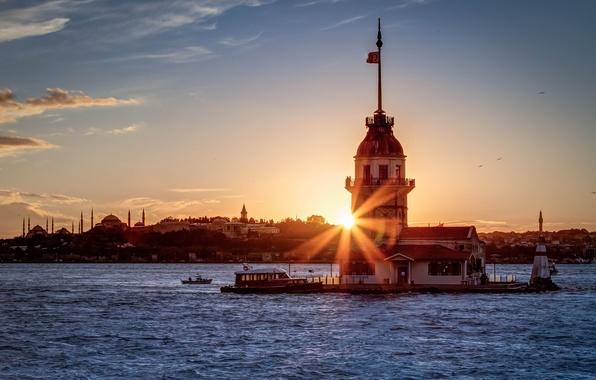 Picture the sun, rays, sunset, Istanbul, Turkey, the Bosphorus, Sultanahmet, Maiden tower, the black sea