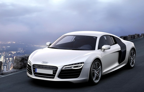 Picture Machine, White, Audi R8, Car, Car, White, Wallpapers, Beautiful, V10, B10, Wallpaper, The front, Sports ...
