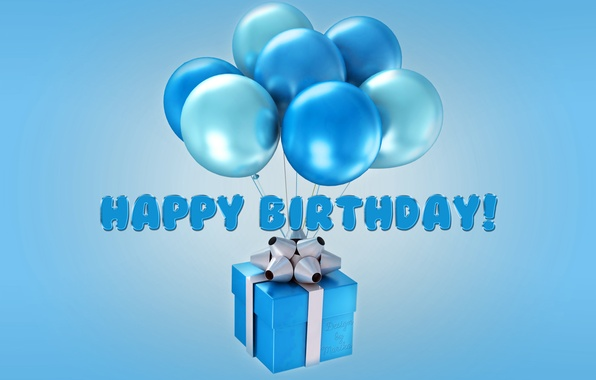 Picture balloons, birthday, Happy Birthday, blue, balloons, Design by Marika