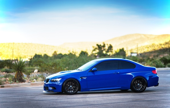 Picture the sky, clouds, blue, black, bmw, BMW, profile, drives, blue, e92