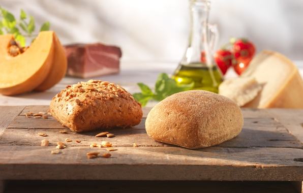 Picture food, cakes, sesame, buns, sunflower seeds, Italian bread, ciabatta