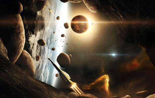Picture planet, galaxies, asteroids