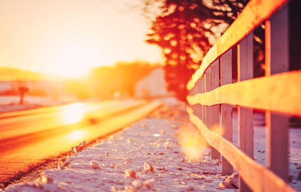 Picture road, leaves, the sun, snow, trees, landscape, nature, background, widescreen, Wallpaper, the fence, blur, fence, …