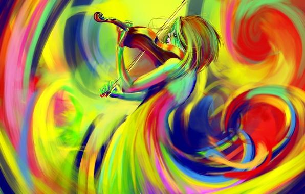 Picture color, violin, figure, bow, rainbow
