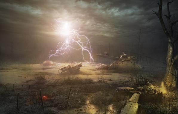 Picture night, tree, sign, lightning, swamp, radiation, soldiers, helicopter, Stalker, STALKER, Fanart