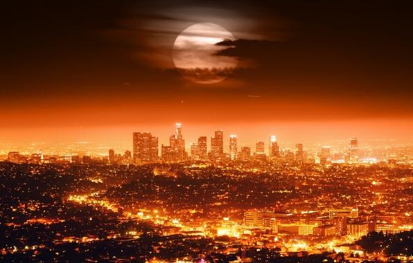 Picture the sky, clouds, night, city, the city, lights, lights, horizon, USA, Los Angeles, skyline, sky, …