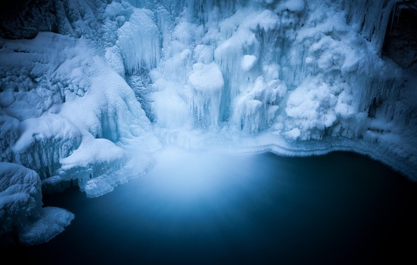 Picture ice, water, nature, waterfall, cave