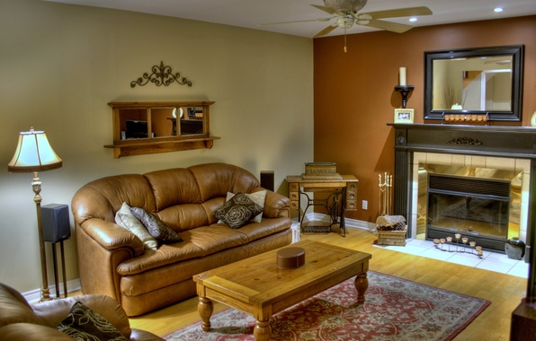 Picture room, sofa, Mat, fireplace, table, mirror.