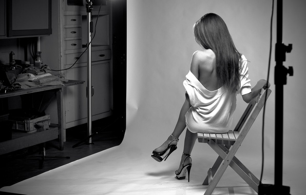 Picture girl, pose, background, photo, model, lighting, brunette, chair, shoes, heels, black and white, studs, blouse