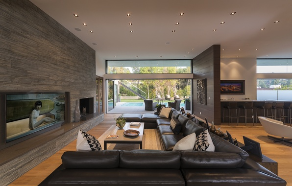 Picture house, sofa, chairs, picture, pillow, TV, chairs, vase, house, pool, design, sunbeds, living room, home