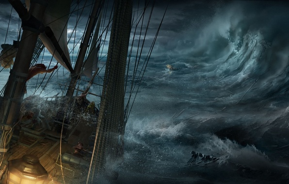 Picture sea, wave, the wreckage, storm, boat, ship, art, shipwreck, Max Qin