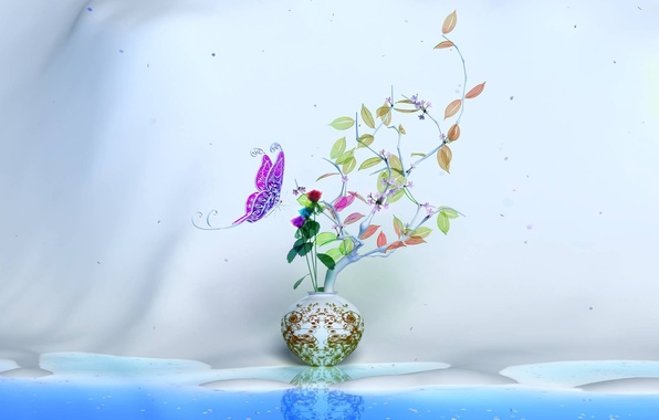 Picture flower, leaves, color, wall, butterfly, branch, Vase
