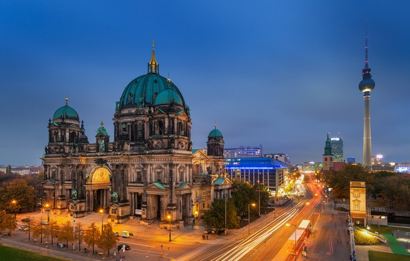 Picture road, light, the evening, excerpt, Germany, Germany, Berlin, Berlin, Berlin Cathedral, The Berliner Dom