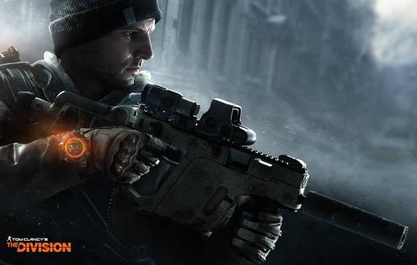 Picture snow, weapons, hat, watch, soldiers, gloves, agent, fighter, Ubisoft, KRISS Vector, Tom Clancys The Division