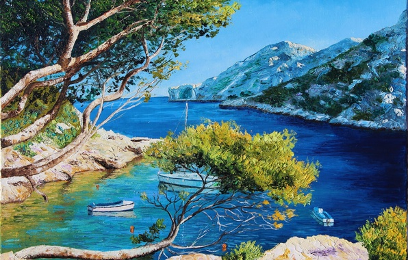 Picture sea, light, trees, landscape, mountains, branches, picture, boats, yacht, art, Laguna, Bank, Jean-Marc Janiaczyk