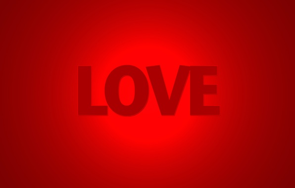 Picture love, red, the word