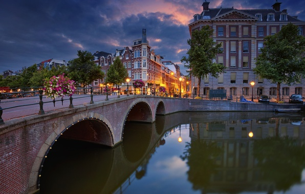 Picture trees, bridge, reflection, building, Amsterdam, channel, Netherlands, promenade, Amsterdam, Netherlands