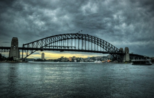 Picture the sky, clouds, bridge, the city, river, Sydney, Australia, bridge, sydney, australia