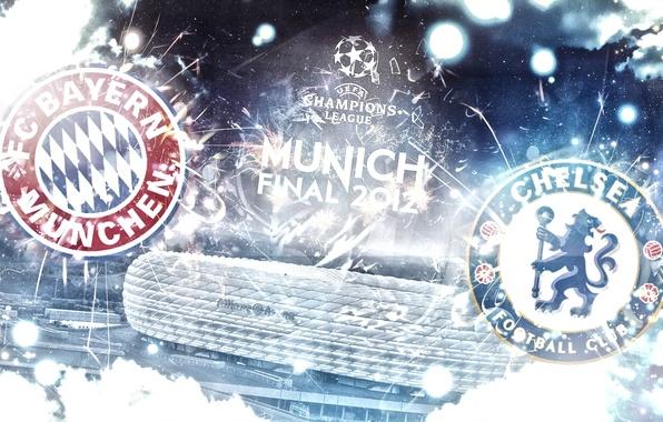 Picture Bayern, stadium, emblems, Chelsea, Champions League, Chelsea, Allianz Arena, Final 2012, League Champions, Bayern, Finale …