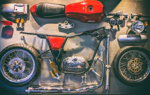 Picture motorcycle, Royal Enfield, disassembled