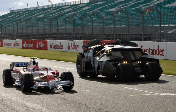 Picture car, Toyota, the, Batmobile, from, at Silverstone, with, The Dark Knight movie