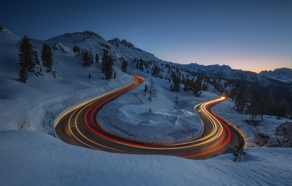 Picture winter, road, light, mountains