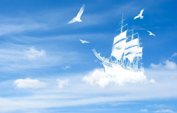 Picture white, the sky, clouds, landscape, birds, background, blue, widescreen, bird, Wallpaper, ship, yacht, wallpaper, the …