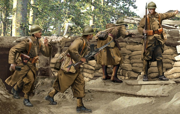 Picture art, soldiers, infantry, 11 Nov, 1918, 28 Jul, 1914, WWI., French, the first world war
