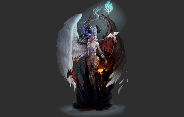 Picture background, Girl, wings, angel, the demon
