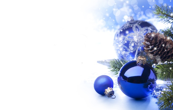 Picture stars, balls, branches, balls, toys, tree, New Year, Christmas, white, Christmas, bumps, blue, blue background, …