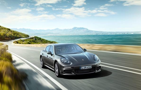 Picture sea, shore, Porsche, Panamera, 2012, Porsche, Panamera