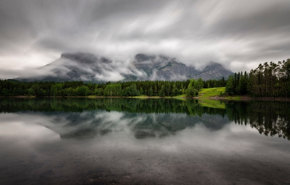 Picture clouds, mountains, lake, Alberta