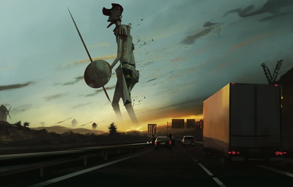 Picture road, sunset, machine, people, surprise, art, giant, mill, spear, shield