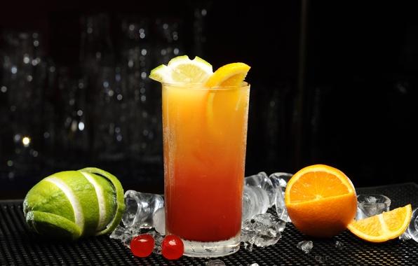 Picture ice, cherry, glass, orange, juice, cocktail, lime, citrus, FL