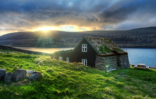 Picture the sun, house, river, Europe, Iceland, Iceland, Reykjavik