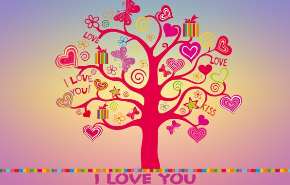 Picture love, tree, colorful, hearts, love, I love you, butterfly, background, tree, romantic, hearts, sweet