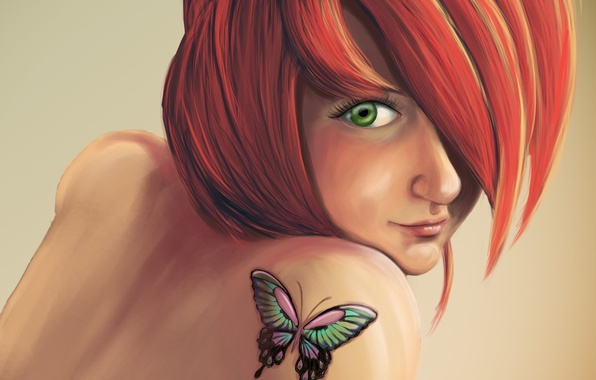 Picture girl, butterfly, tattoo, art, tattoo, red, shoulder, Anna Mannco