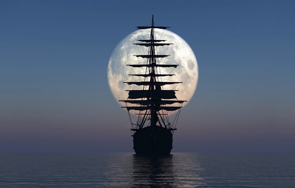 Picture SEA, SHIP, HORIZON, The OCEAN, The SKY, The MOON, MAST, SAILS, SURFACE, SILHOUETTE