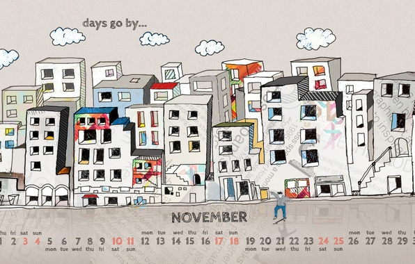 Picture the city, figure, people, home, 2012, calendar, number, November, november