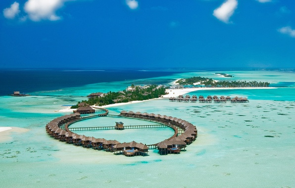 Picture Islands, the ocean, The Maldives, the hotel