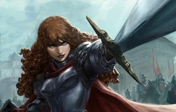 Picture look, girl, weapons, sword, armor, art, fantasy