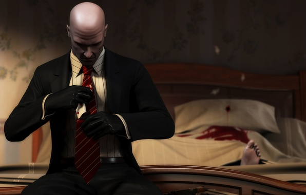 Picture gun, blood, Costume, Gloves, Bed, the corpse, Leg, Blood money, Hitman: Blood Money, Tie