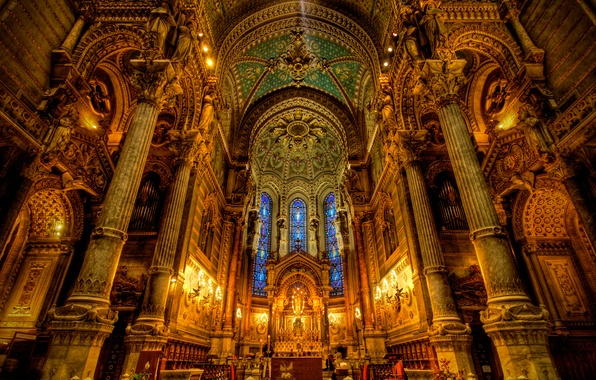 Picture light, Church, Cathedral, stained glass, religion, column