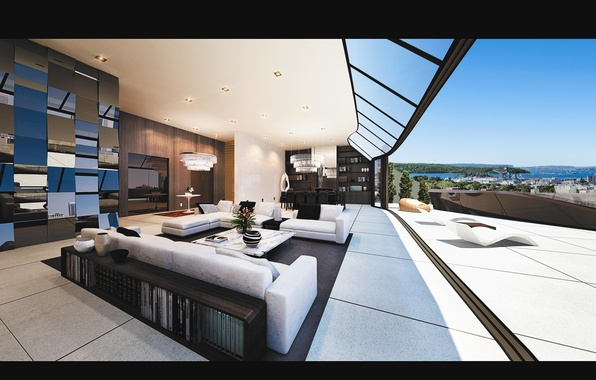 Picture table, chairs, panorama, balcony, wardrobe, table, sofas, sunbeds, penthouse, terrace, living room, interior, chandeliers, desigen, …