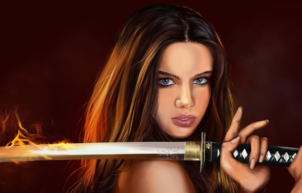 Picture eyes, look, girl, face, weapons, fire, hair, katana, hands, art