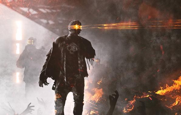 Picture death, fiction, fire, robot, destruction, cyborg, art, zombots