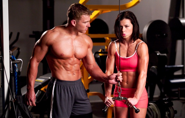 Picture woman, man, workout, fitness, gym