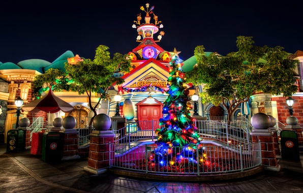 Picture night, the city, house, holiday, New Year, Christmas, Disney, Christmas, New Year, Disneyland, Christmas, lights