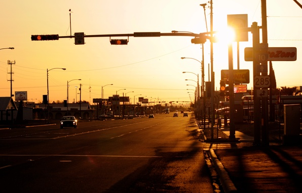 Picture road, sunset, the evening, America, town, usa